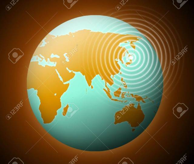Earth With Quake Waves In Japan Stock Photo 9071914