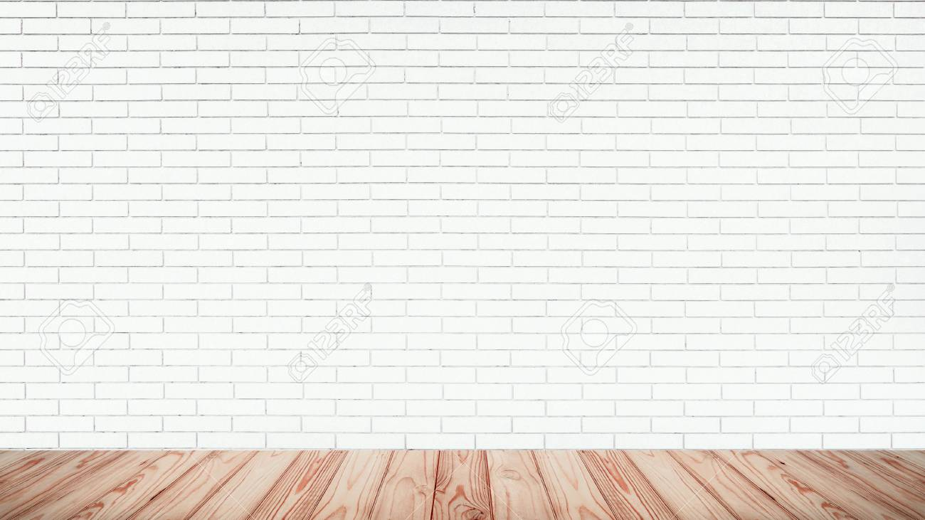 Empty Top Of Wooden Floor With White Brick Wall Texture Background Stock Photo Picture And Royalty Free Image Image 118617895