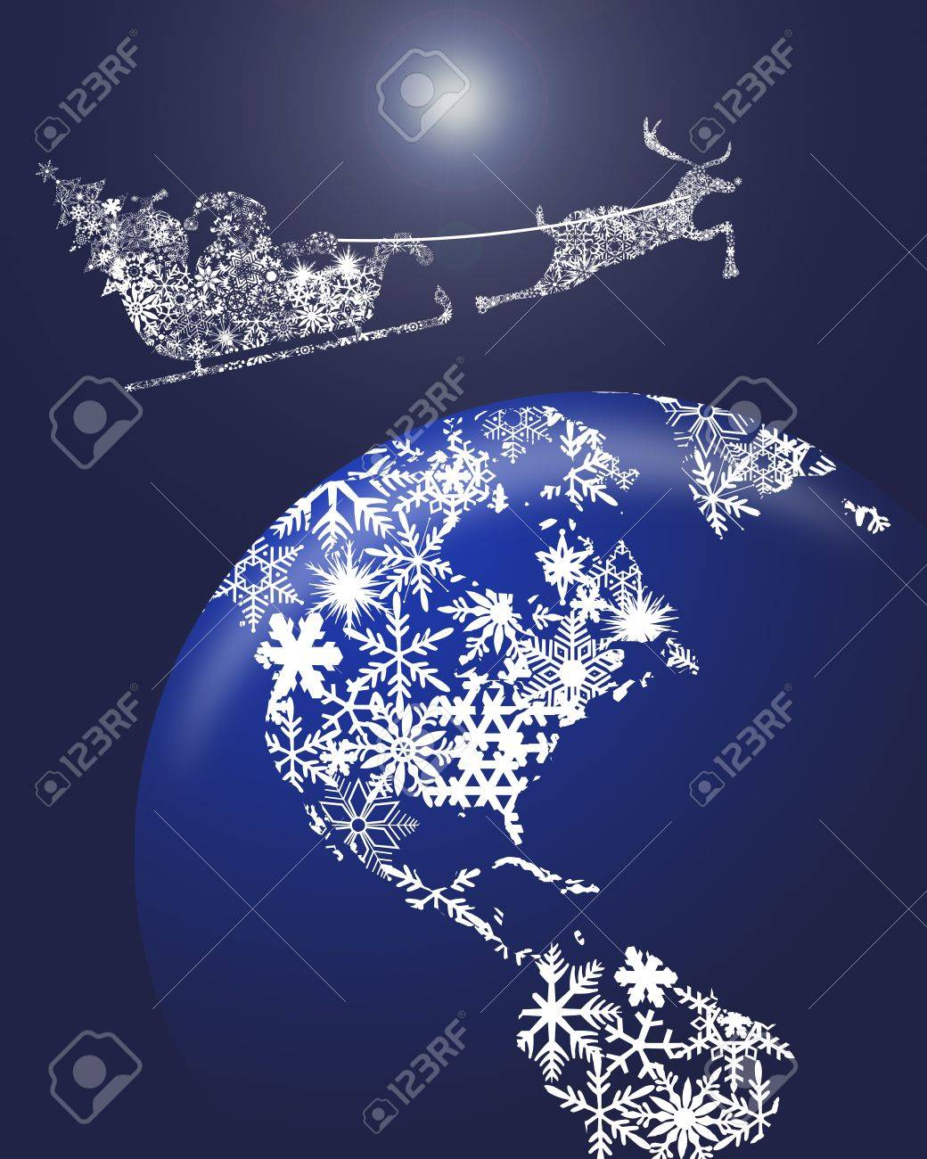 hight resolution of christmas in sleigh with reindeer over earth globe clipart illustration stock illustration 10871725