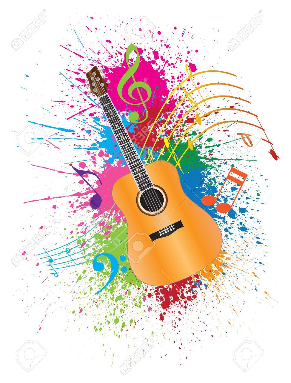 guitare acoustique avec les notes de musique et de peinture illustration splatter resume effet de couleur