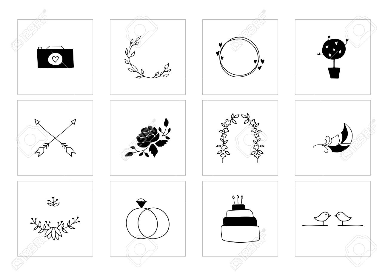 hight resolution of romantic and wedding clipart feminine logo elements stock vector 106784132