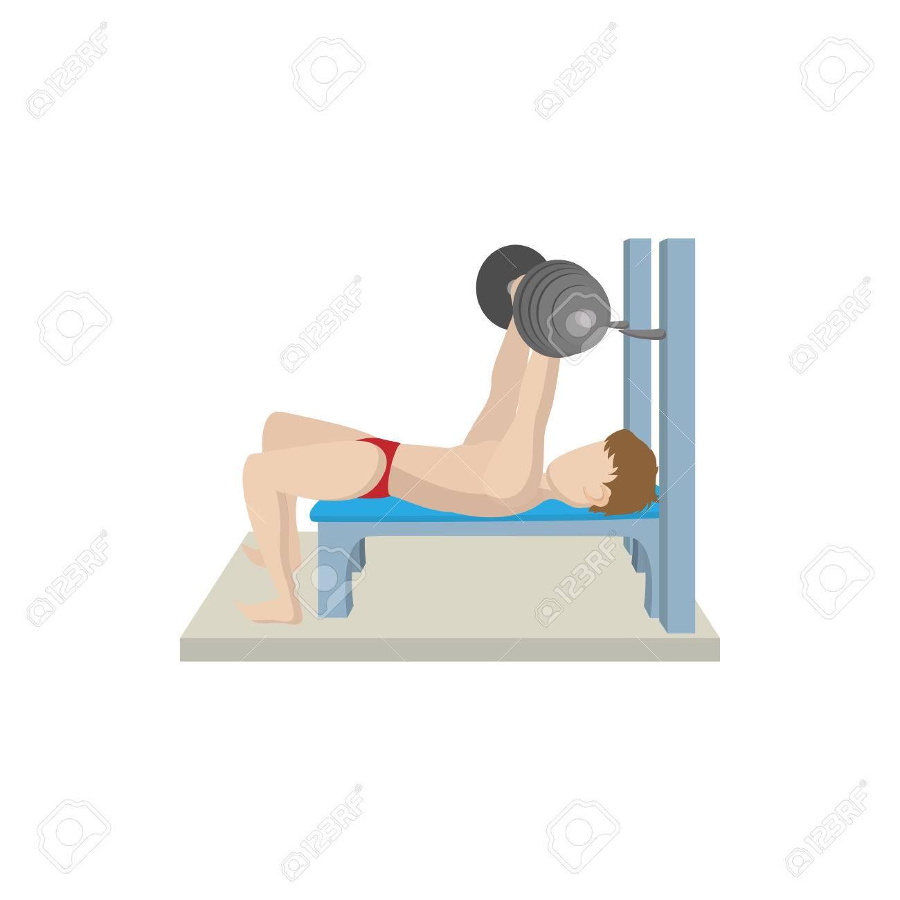 Hombre Del Músculo Entrenado En El Icono De La Barra De Press De
