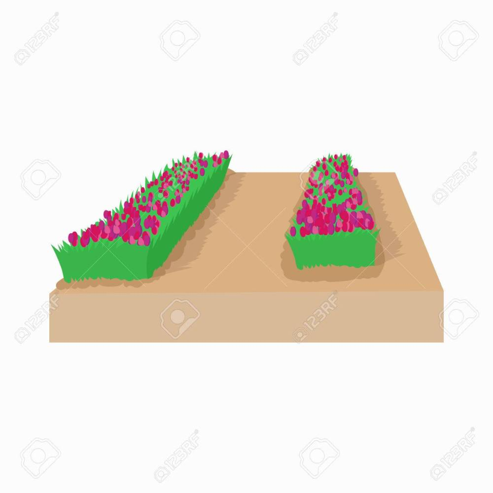 medium resolution of garden bed of tulips in holland icon in cartoon style on a white background stock vector