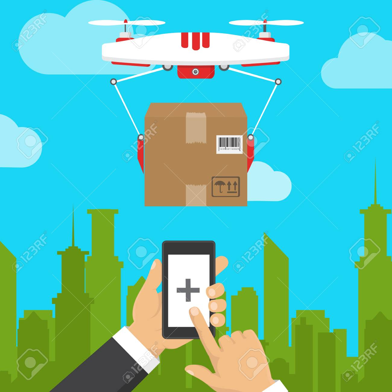 hight resolution of drone with a video camera control panel modern flying device vector illustration of