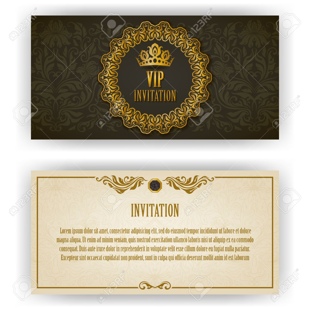 elegant template for vip luxury invitation card with lace ornament
