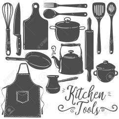 Kitchen Tool Window Valance Tools Baking Pastry Silhouette Flat Vector Set Icon Emblem Utensils