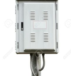 electric control box on iron pole isolated on white background stock photo 14120717 [ 866 x 1300 Pixel ]