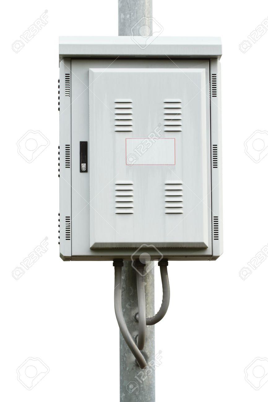 medium resolution of electric control box on iron pole isolated on white background stock photo 14120717