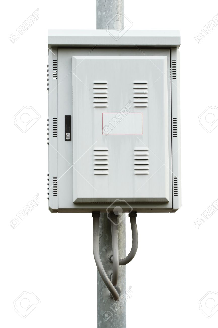hight resolution of electric control box on iron pole isolated on white background stock photo 14120717