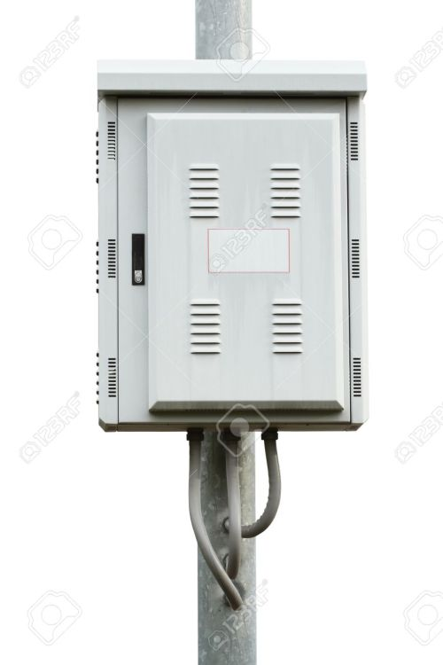 small resolution of electric control box on iron pole isolated on white background stock photo 14120717