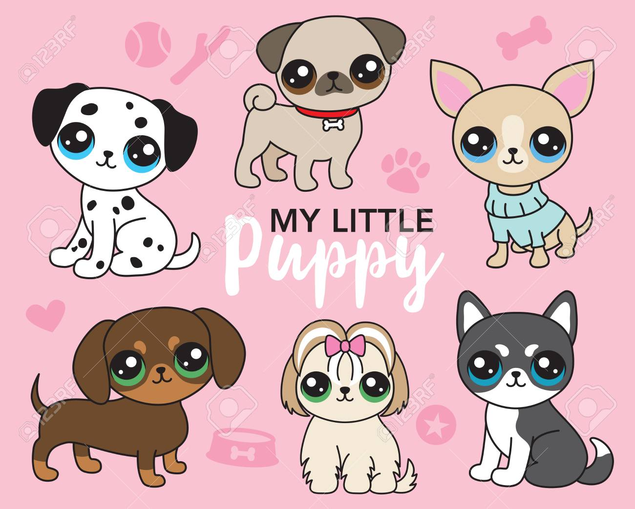 hight resolution of vector illustration of cute puppy dog including pug chihuahua shih tzu dalmatian