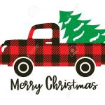 Cute Truck With Red Buffalo Plaid Pattern Carrying A Christmas Royalty Free Cliparts Vectors And Stock Illustration Image 134278114