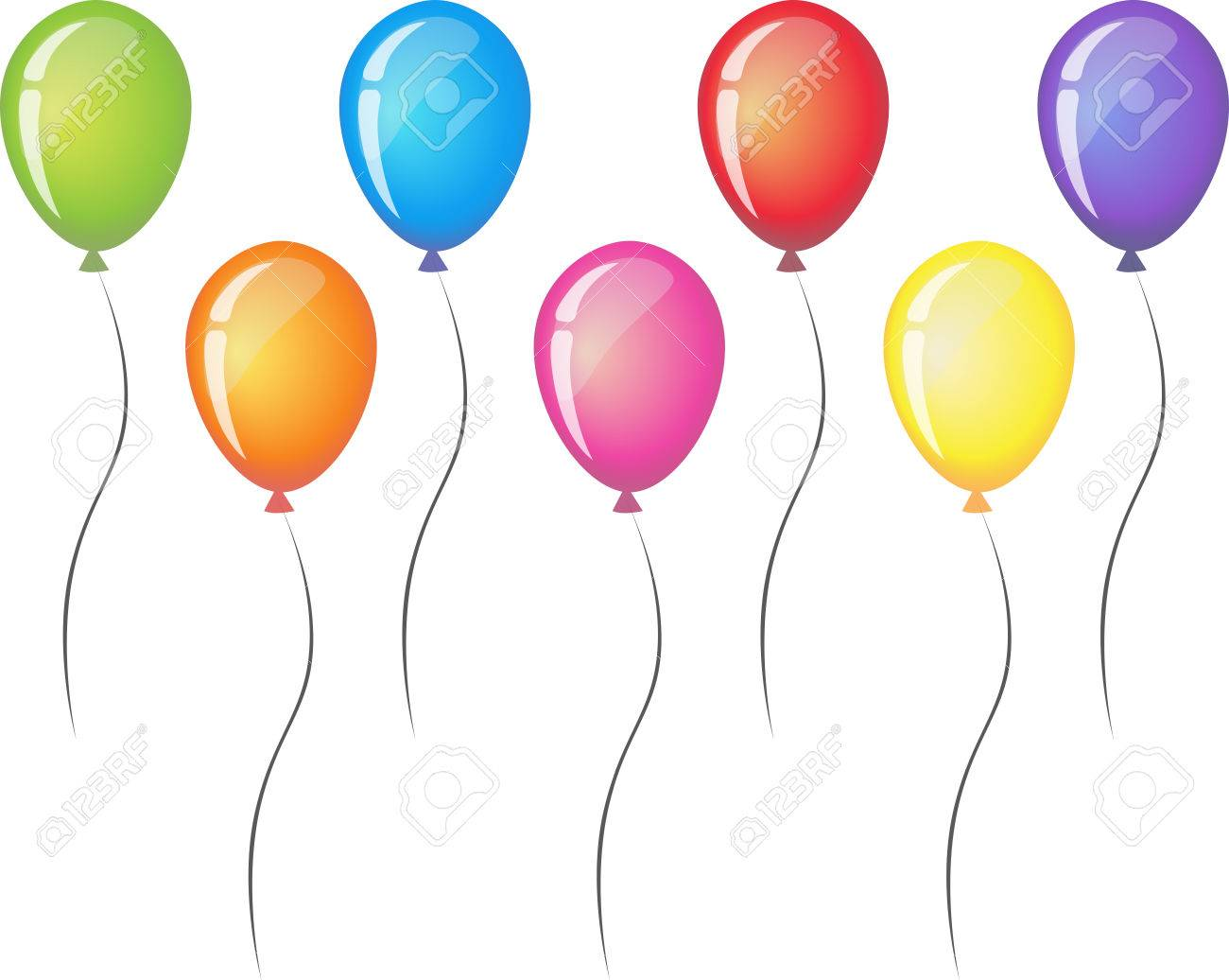 hight resolution of seven balloons with ribbon isolated on white background balloon icon red orange yellow green