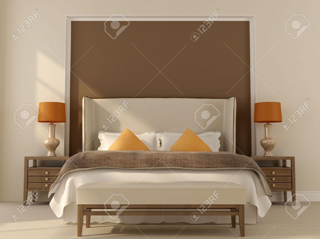 chambre dans des tons beige et marron avec decoration d orange