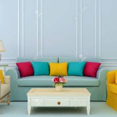 Bright Sofa Ethan Allen Reviews 2017 Beautiful Composition Of Blue And Chairs With Colorful Pillows Stock Photo 34473073