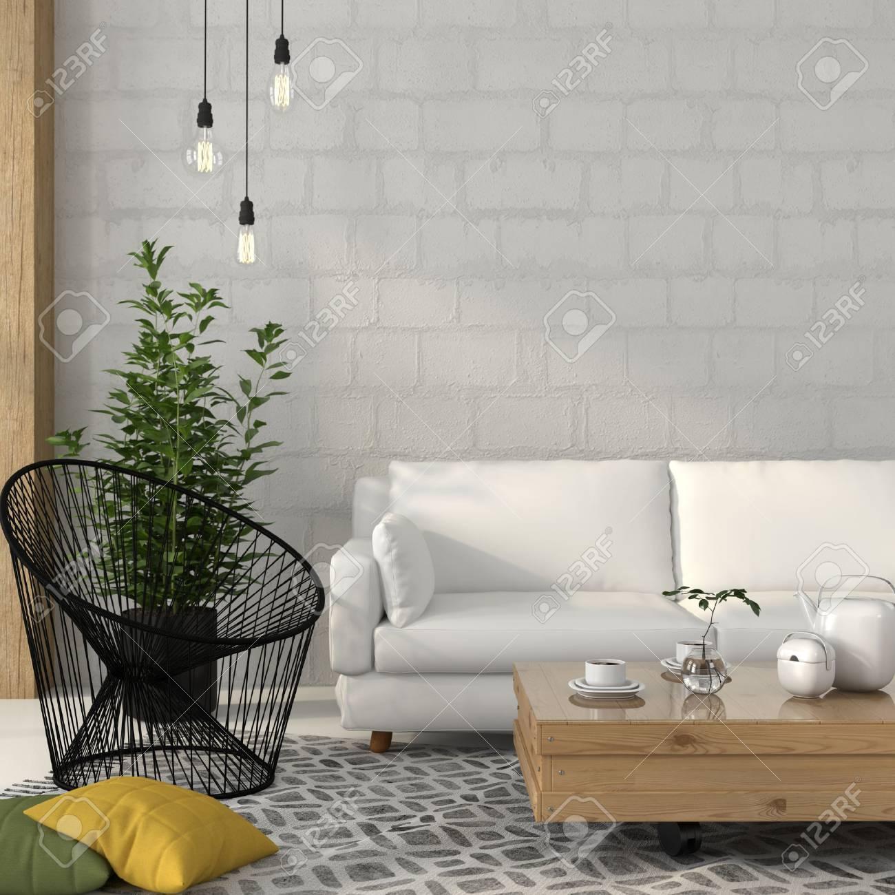 interieur salon d ete avec un canape blanc avec table en bois et un fauteuil sltyle de fil noir