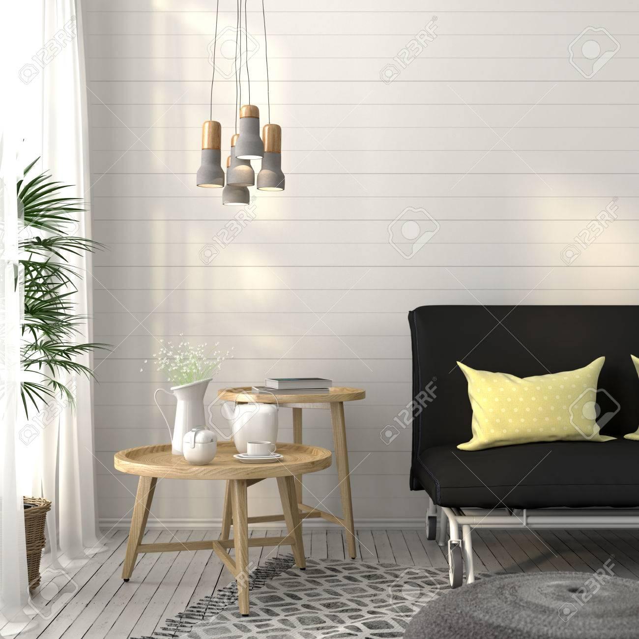 salon moderne avec canape gris fonce des tables en bois et d un lustre en beton