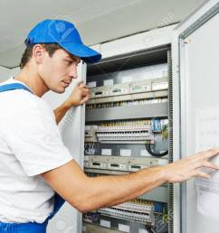 stock photo young adult electrician builder engineer inspecting electric counter equipment in distribution fuse box [ 1300 x 865 Pixel ]