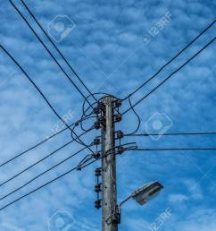 electric wire and lamp on electrical pole with blue cloudy sky background stock photo 107323263 [ 1300 x 866 Pixel ]
