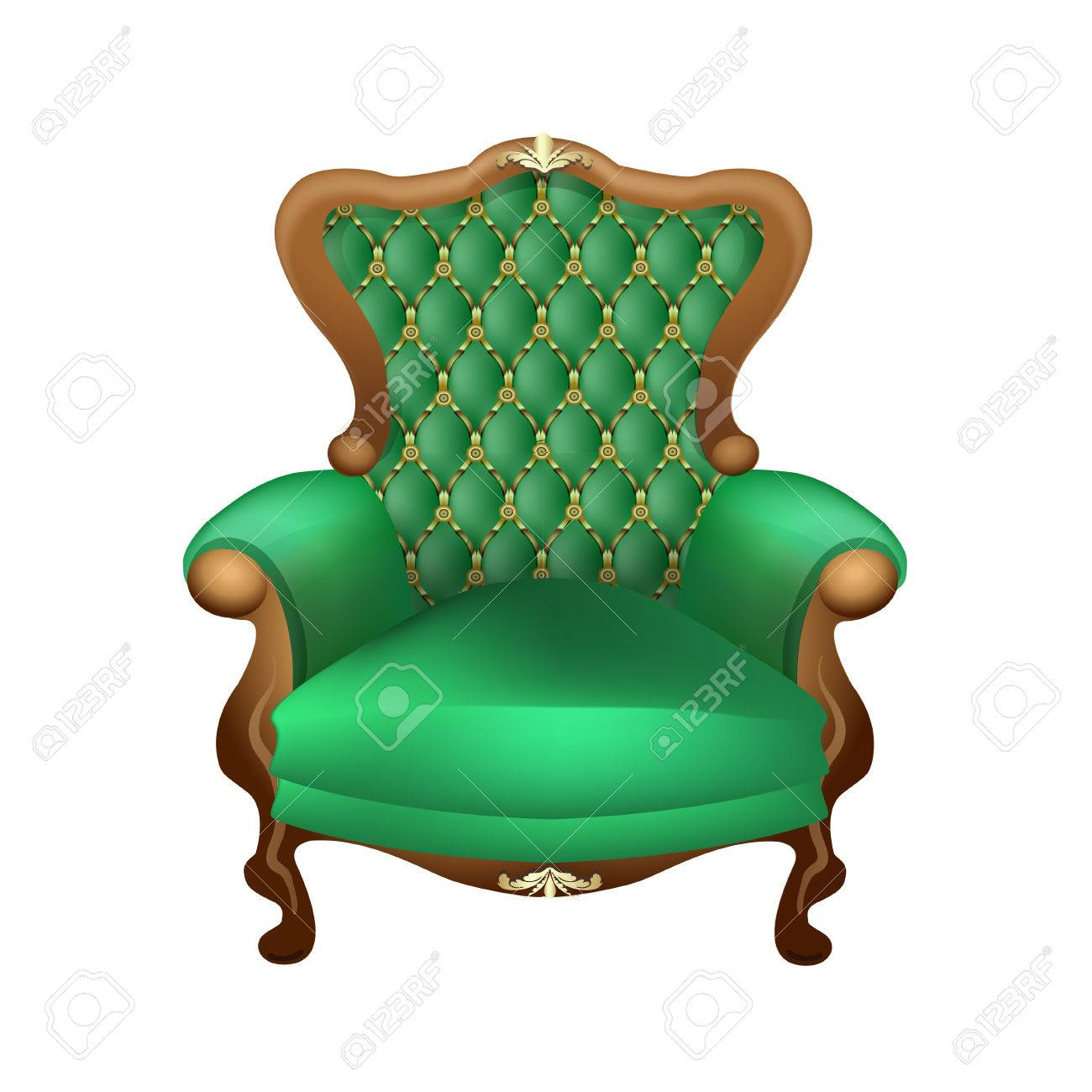 Green Upholstered Chair Beautiful Chair With A Beautiful Upholstered In Green On A White