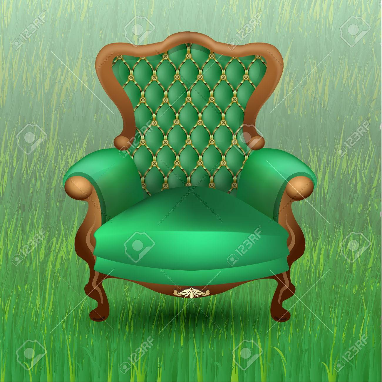 Green Upholstered Chair Antique Luxury Chair With Wooden Legs And Upholstered In Green