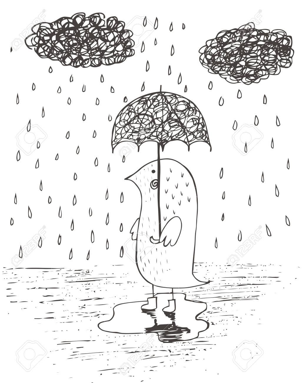 Rain Drawing : drawing, Umbrella, Under, Rain., Drawing, Cartoon, Sketch, Illustration.., Royalty, Cliparts,, Vectors,, Stock, Illustration., Image, 67830445.