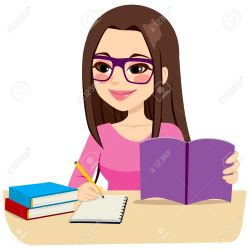 Teenage Girl Studying With Some Books And Taking Notes Writing Royalty Free Cliparts Vectors And Stock Illustration Image 59582794