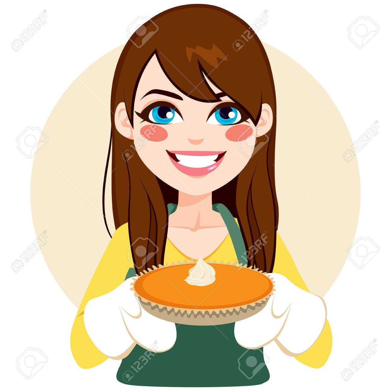 hight resolution of vector young brunette woman holding pumpkin pie on thanksgiving party