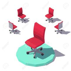 Office Chair Vector Leather Folding Chairs Isometric Low Poly Red Flat Illustration