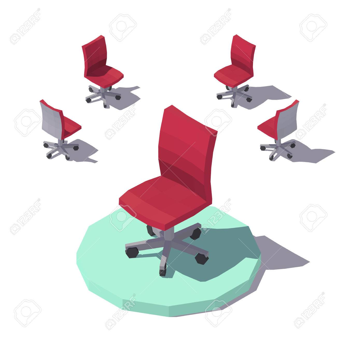 Red Desk Chair Vector Isometric Low Poly Red Office Chair Vector Flat Illustration