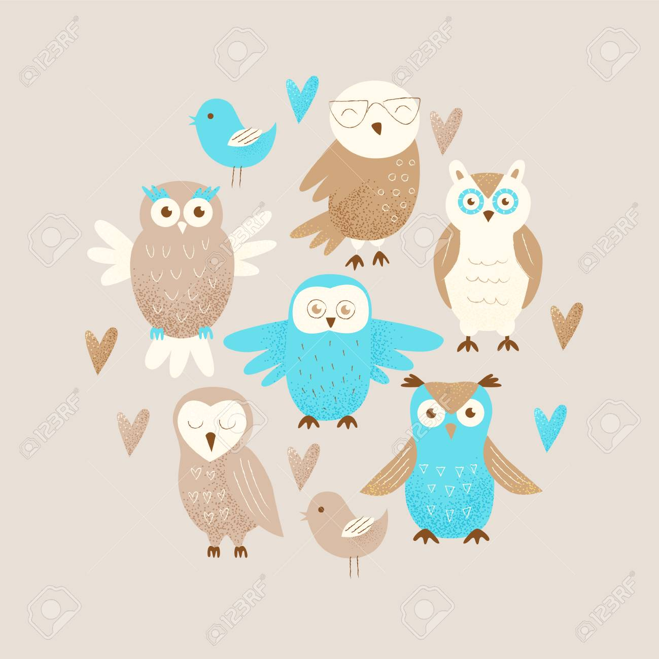 Cute Owl Decor Cute Owl Hand Drawn Design Concept Celebration Decor