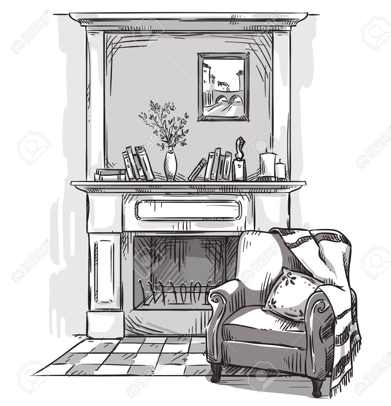 Image result for black and white drawing image of a cozy chair
