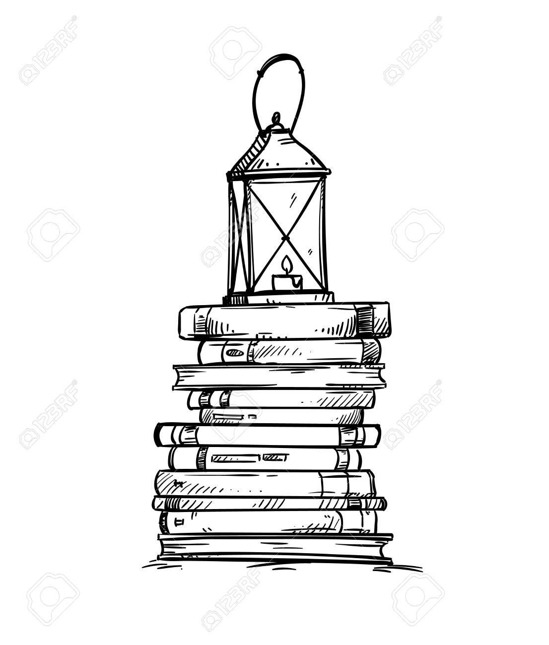 Pile Of Books With Old Lantern On The Top Vector Illustration Royalty Free Cliparts Vectors And Stock Illustration Image 115922985