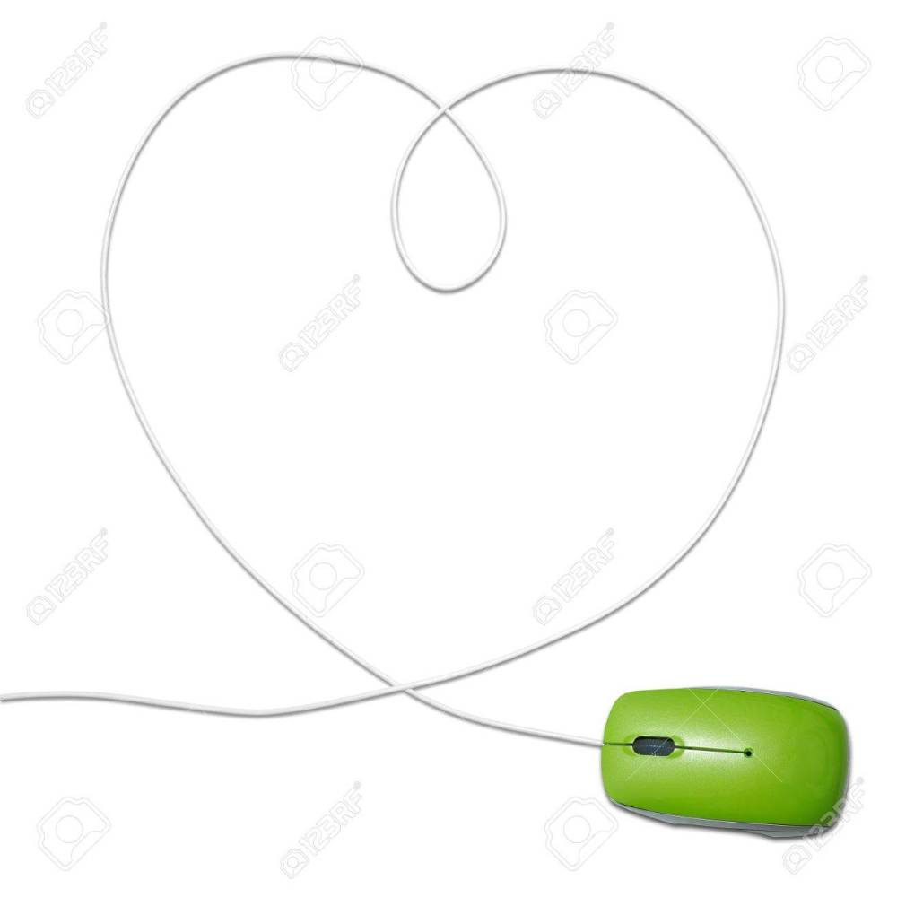 medium resolution of computer mouse with heart shaped wire stock photo 10745532