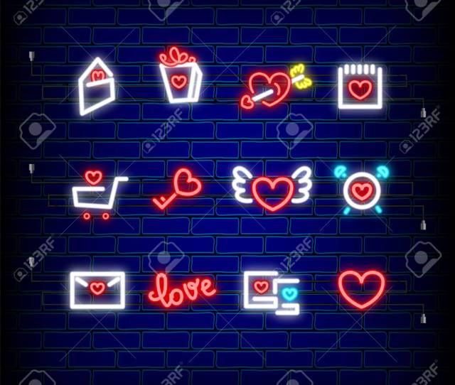 Mail Photo Frame Key Neon Happy Valentines Day Set Icon Valentine Lamp Romance