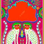 Indian Frame With Birds Cheetah And Flowers In Truck Art Kitsch Royalty Free Cliparts Vectors And Stock Illustration Image 95110116