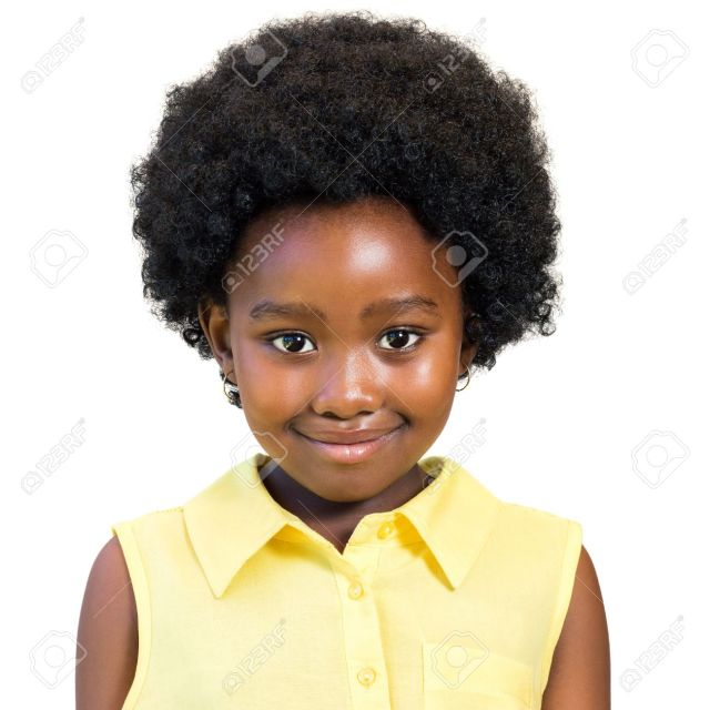 close up portrait of little african girl with afro hairstyle..