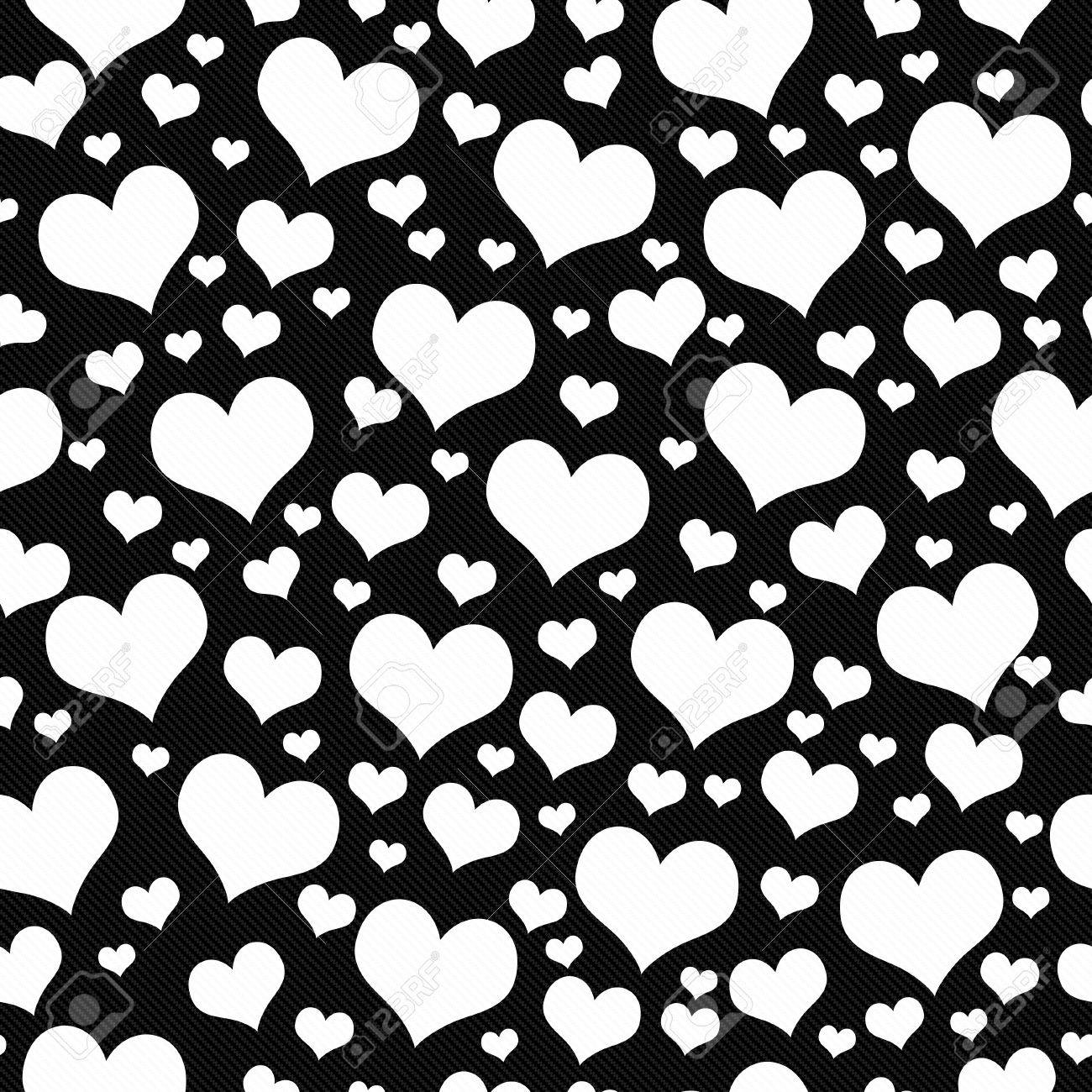 Black And White Hearts Tile Pattern Repeat Background That Is Stock Photo Picture And Royalty Free Image Image 43434374