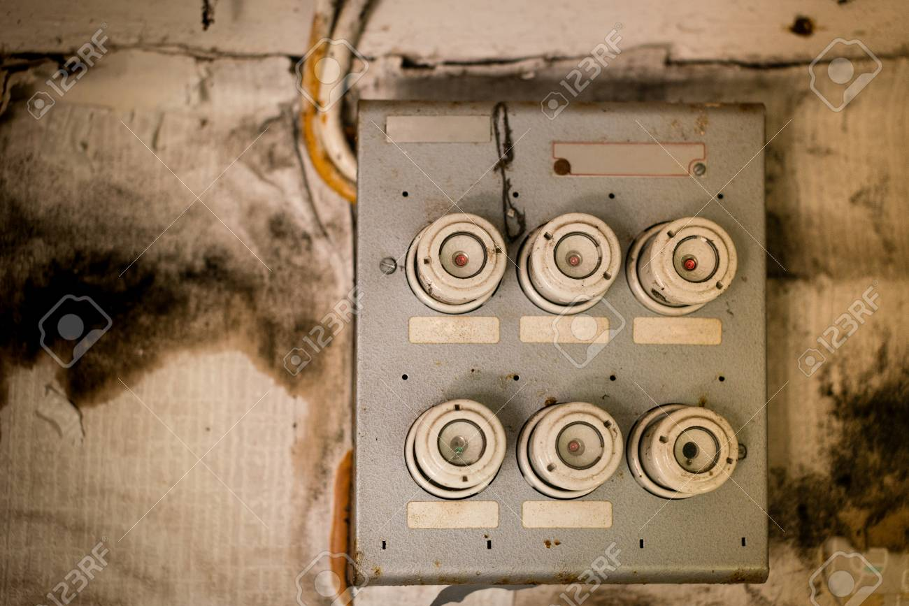 hight resolution of old fuse box in an old abandoned house stock photo 81876895