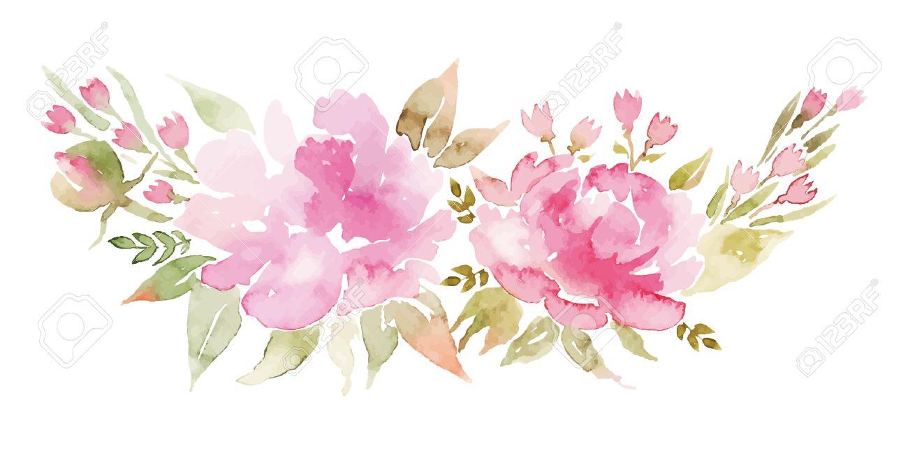 watercolor flowers peonies handmade
