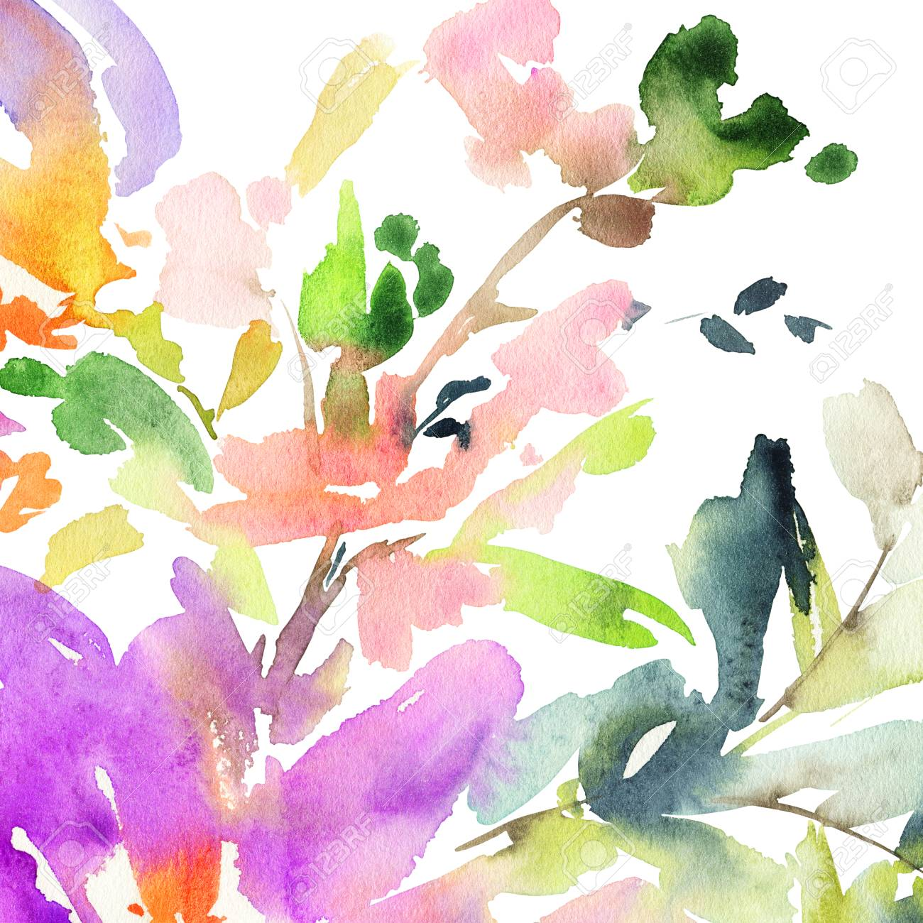 abstract watercolor flowers bright