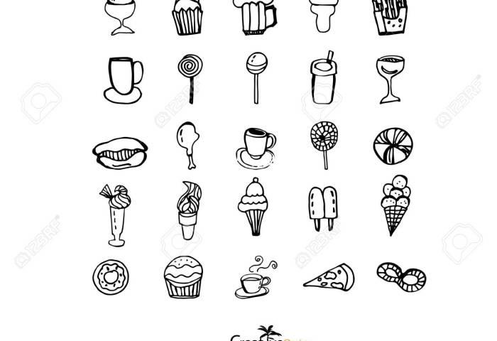 Bakeryicecreamcoffee Hand Drawnbakery Doodle Bakeryvector