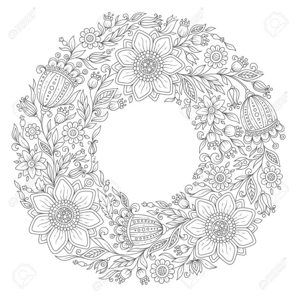 花の花輪。大人のぬりえ本。ベクトル。手描きのヴィンテージ作品です