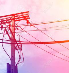 electric pole power lines and wires with blue sky with lamp vintage stock photo 61392963 [ 1300 x 974 Pixel ]