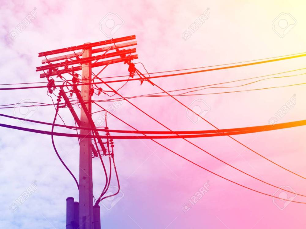 medium resolution of electric pole power lines and wires with blue sky with lamp vintage stock photo 61392963