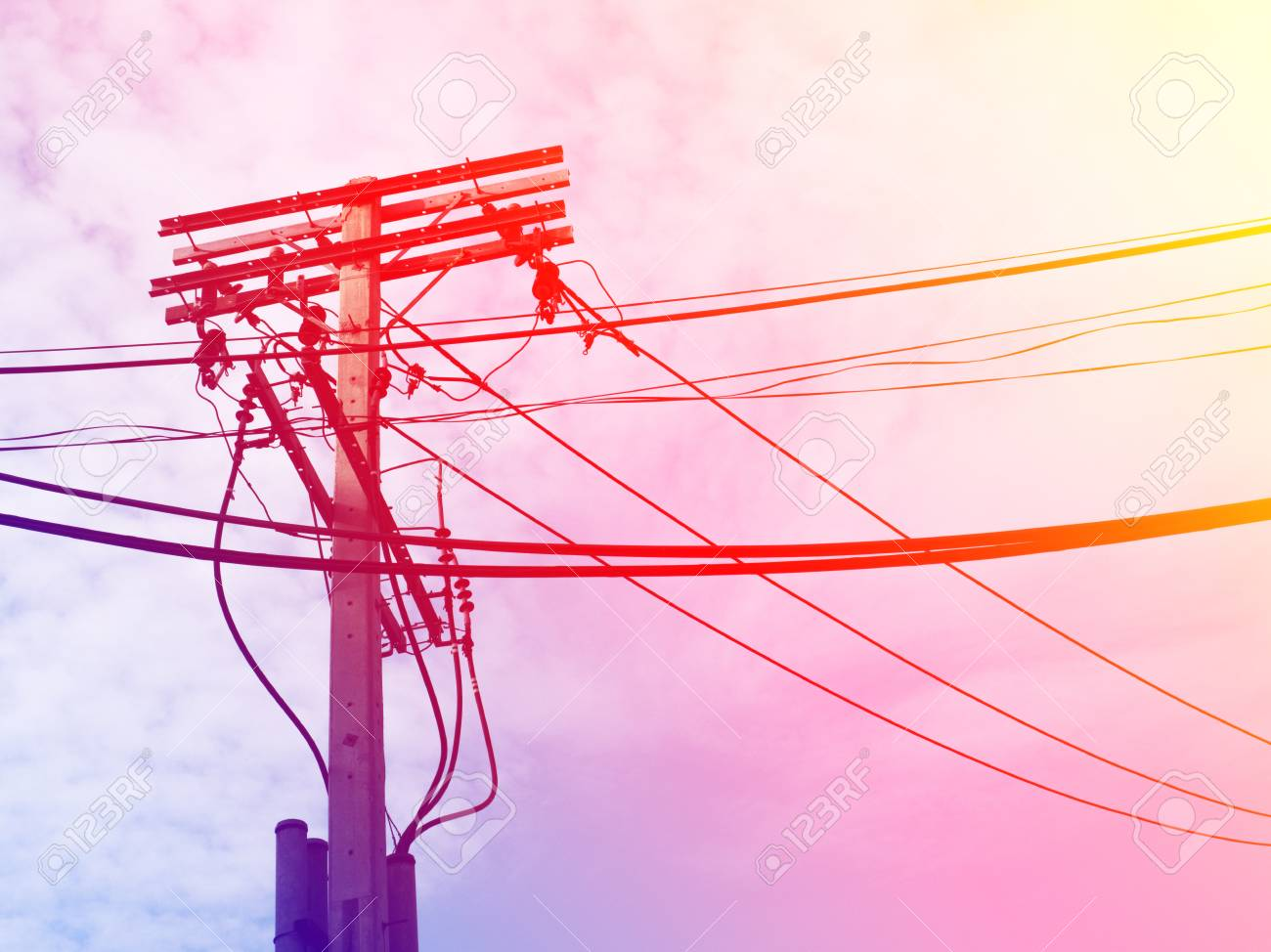 hight resolution of electric pole power lines and wires with blue sky with lamp vintage stock photo 61392963