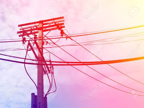 small resolution of electric pole power lines and wires with blue sky with lamp vintage stock photo 61392963