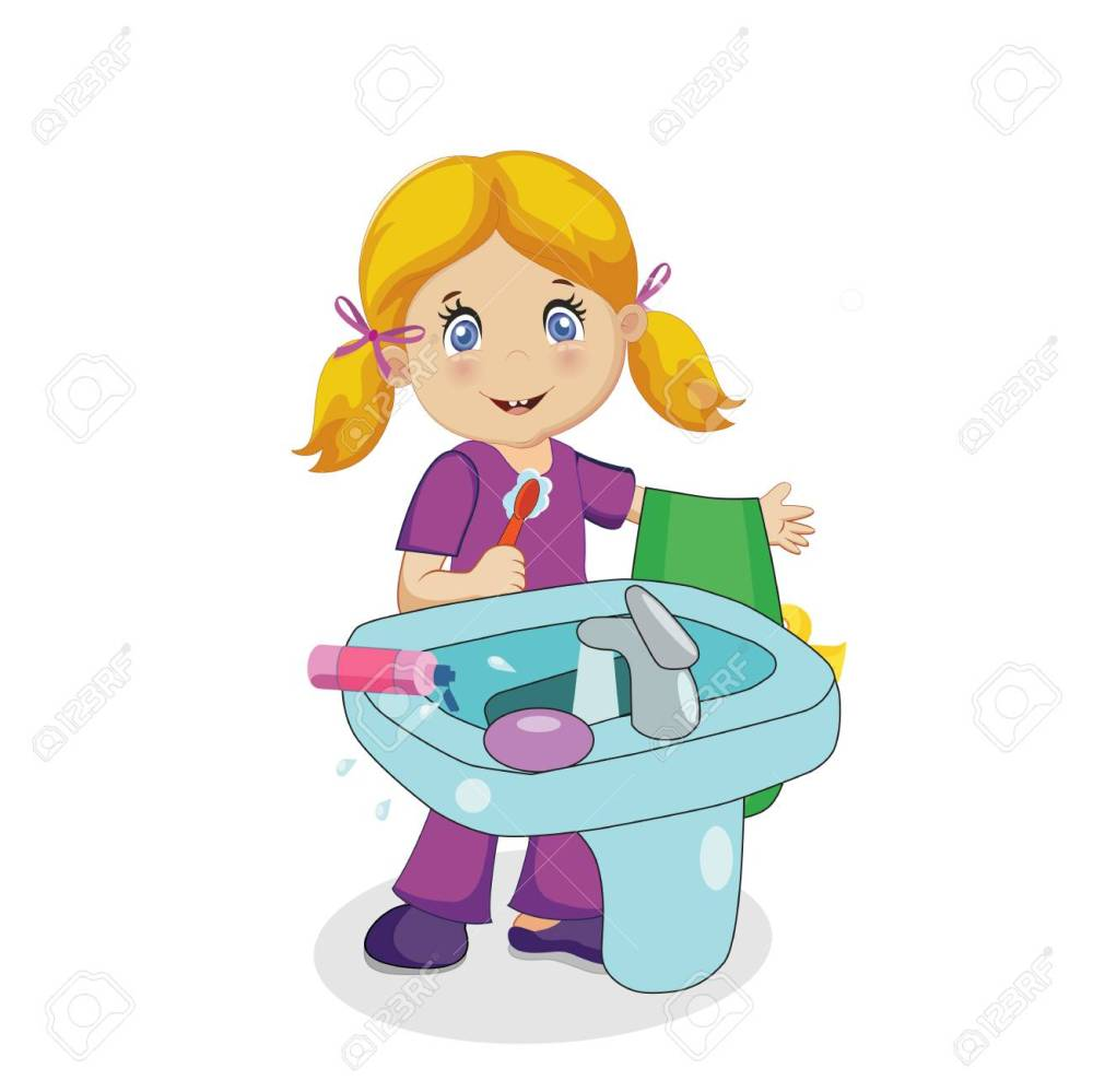 medium resolution of cute smiling baby girl character with blonde hair brushing teeth at sink in bathroom isolated on