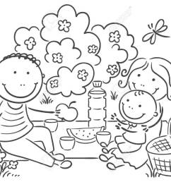 cartoon family having picnic outdoors royalty free cliparts vectors jpg 1300x955 summer family picnic clipart [ 1300 x 955 Pixel ]