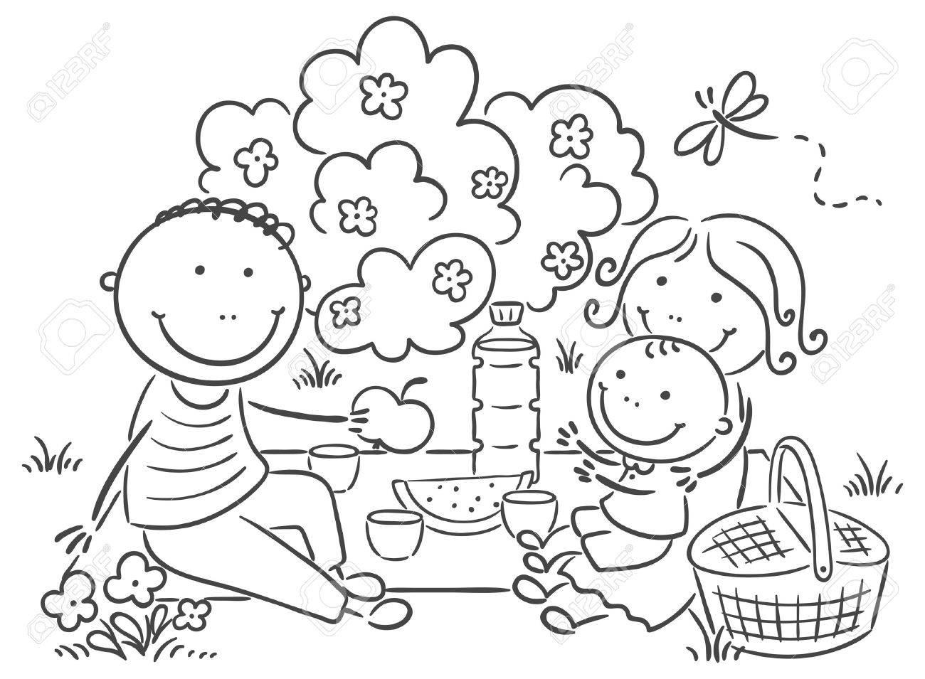 hight resolution of cartoon family having picnic outdoors royalty free cliparts vectors jpg 1300x955 summer family picnic clipart